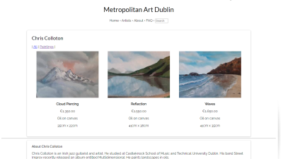 Screenshot of an art gallery website