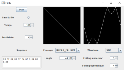 Screenshot of a software synthesiser displaying sine waves