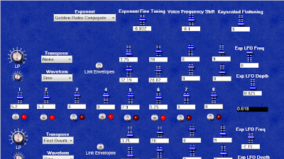 Screenshot of a bright blue software synth's knobs and sliders