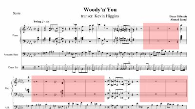 Music notation - a band score with highlighted sections